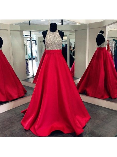 A-Line Halter Sequins and Satin Long Red Prom Dresses Party Evening Gowns 99602309