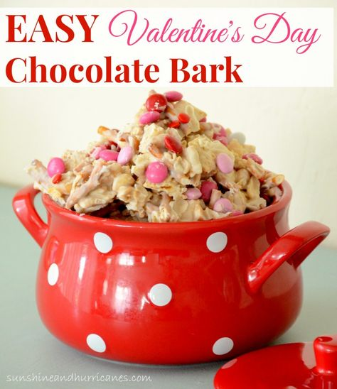How about a quick and delicious treat for a crowd or to package for friends, neighbors, or co-workers! This Easy Valentine's Day Chocolate Bark is a crowd pleaser with the perfect mix of salty & sweet and can be made in 5 minutes!