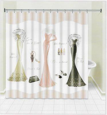 Avanti Dressed to Thrill Fabric Shower Curtain Feathers Elegant Black Pink Gray