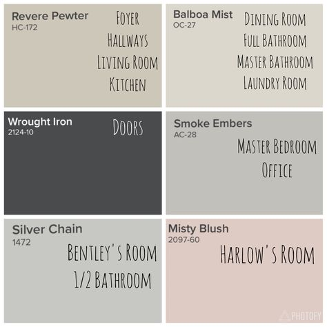 Benjamin Moore Whole House Color Scheme Revere Pewter Balboa Mist