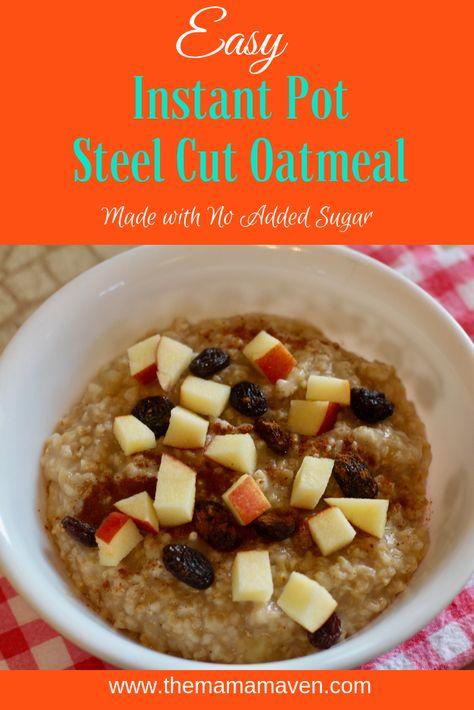 Easy Instant Pot Apple Cinnamon Steel Cut Oatmeal #recipes #steelcutoats #steelcut #steeloats #oatmeal #instantpot #breakfast #oatmealrecipeshealthy #instantpotbreakfast #brunch #instantpotoatmeal