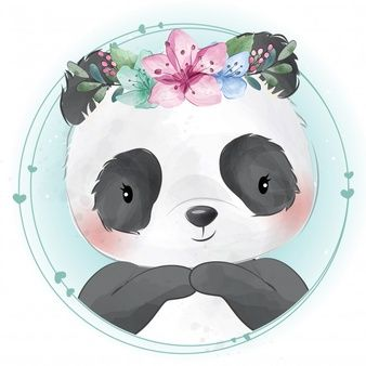 Cute Little Panda With Floral Portrait