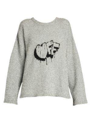New Off White Off Lurex Knit Sweater SILVER BLACK online