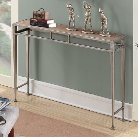 Roose Console Table 42 W X 9 D X 30 1 4 H Antique Silver Finish