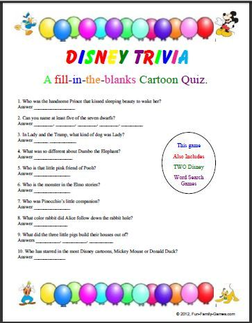 Disney Trivia Questions Printable With Images Disney Trivia