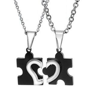 Deux colliers en acier inoxydable collier pendentif Collares de du Enamorados