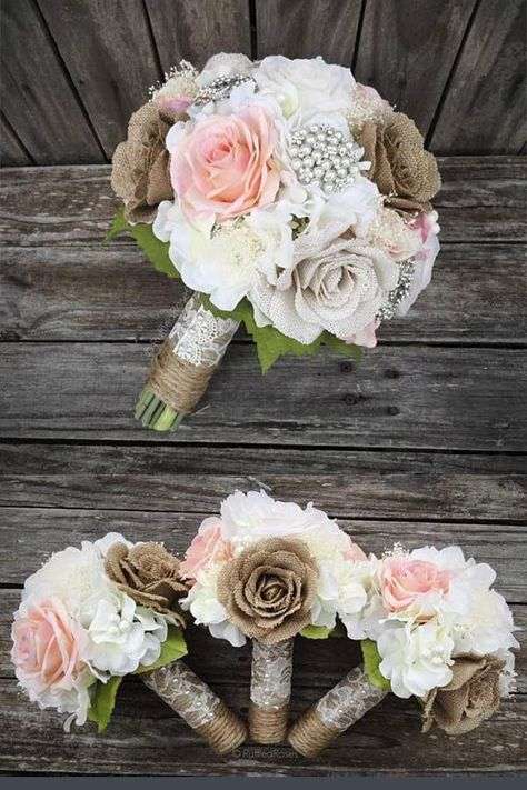 Rustic Burlap Wedding Bouquet with pearls and flowers. The mix of burlap flowers and pearl brooch with lace and twine handle create an elegant bouquet for a rustic country wedding. Elegant Country Rustic Wedding Ideas number – My World Burlap Bouquet, Rustic Bouquet, Burlap Roses, Burlap Lace, Wedding Ceremony Ideas, Diy Wedding, Dream Wedding, Spring Wedding, Perfect Wedding