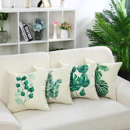 Green Leave Throw Pillow Cover Cotton Cushion Cover 1pc 18 X18 Walmart Com In 2021 Throw Pillows Decorative Throw Pillow Covers Throw Pillow Covers
