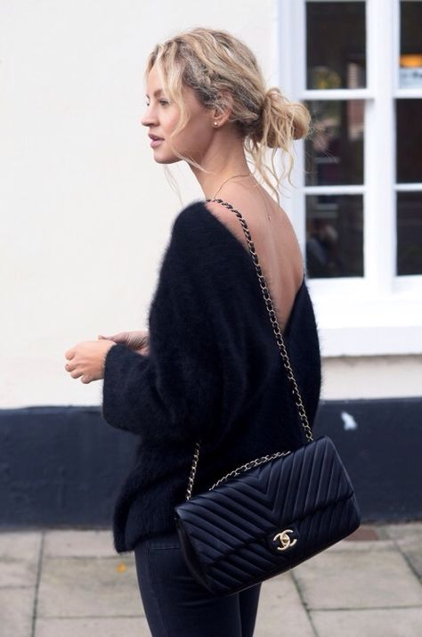 Low back mohair sweater & quilted Chanel arm candy