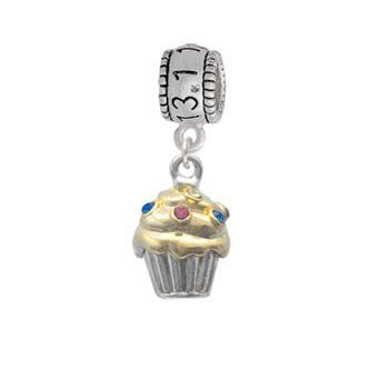 Two Tone Cupcake with Crystal Sprinkles Half Marathon Charm Bead Delight,