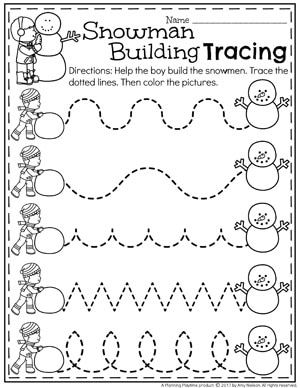 Preschool Tracing Worksheets for Winter - Snowman Preschool Theme around the world preschool theme Snowman Activities for Preschool - Planning Playtime Preschool Printables, Preschool Lessons, Preschool Classroom, Preschool Worksheets, Preschool Learning, January Preschool Themes, Snowman Printables, Christmas Worksheets Kindergarten, Kindergarten Age