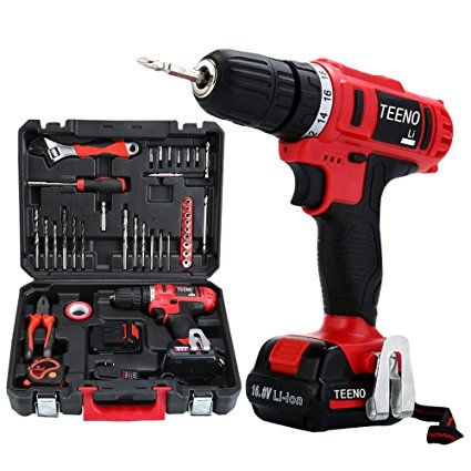Teeno Cordless Drill Set 16 8v Lithium 2 Batteries Drill Driver Kit With 36 Accessories Review Drill Set Cordless Drill Battery Drill