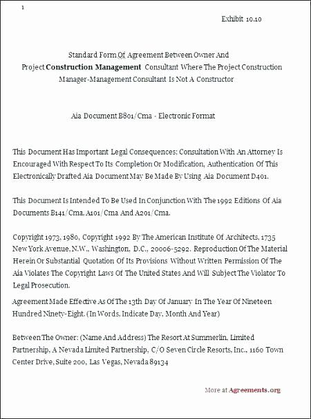 Construction Management Contract Template Unique Subcontractor