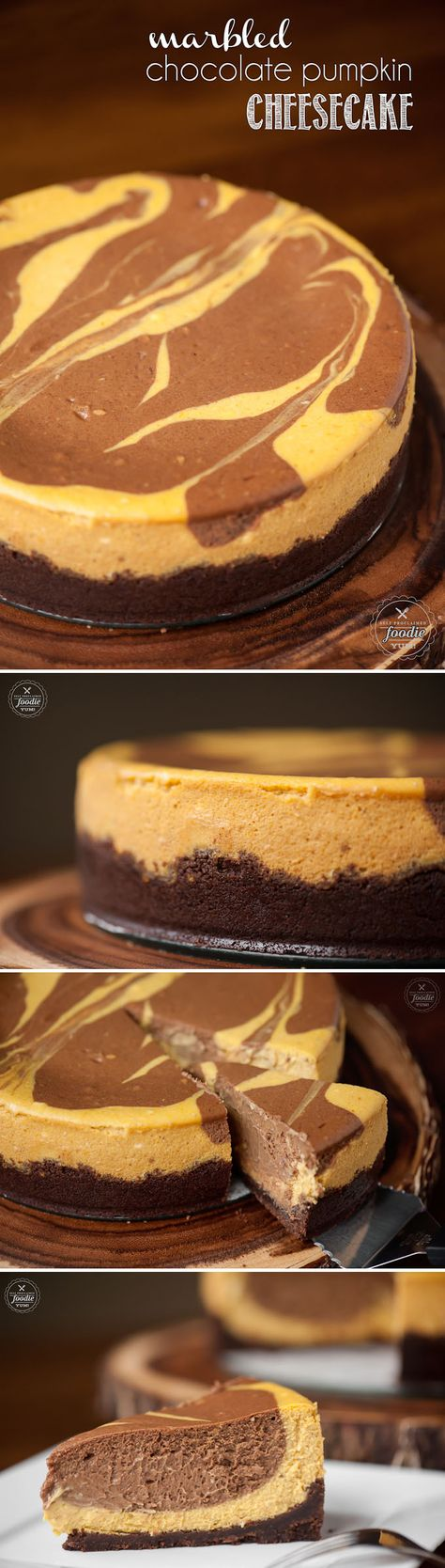 This homemade Marbled Chocolate Pumpkin Cheesecake made with a chocolate graham cracker crust and pumpkin puree is the perfect fall or Thanksgiving dessert!
