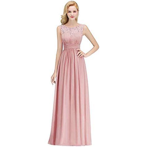 34-46 TiaoBug Damen Kleider elegant Abendkleid festlich Hochzeit Cocktailkleid Chiffon Faltenrock langes Brautjungfernkleid Gr