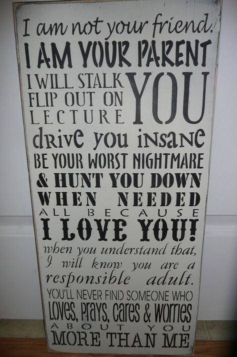 PARENTS PROMISE Handpainted Prim Wood SignTypography by SiMpleGalz, $45.00
