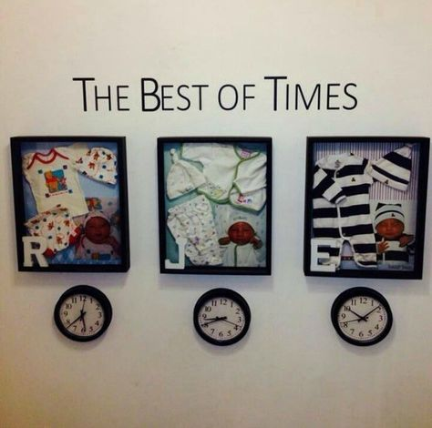 Make a shadow box for each child and set a clock to the time they were born. Make a shadow box for e Baby Kind, Baby Love, Baby Emily, Newborn Shadow Box, Baby Shadow Boxes, Diy Shadow Box, Deco Pastel, Baby Memories, Baby Pictures