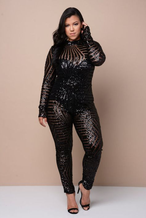 SEXY PLUS SIZE OPEN BACK MESH SEQUIN CATSUIT CLUBWEAR PARTY JUMPSUIT 1X2X3X #Unbranded #Jumpsuit