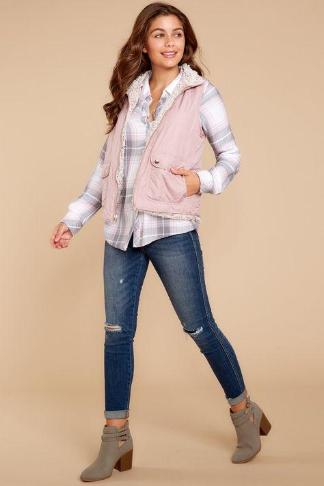 Park City Reversible Vest In Dusty Mauve - Fleece Shirt -ideas of Fleece Shirt - Pink reversible fuzzy fleece vest grey plaid shirt skinny jeans grey booties