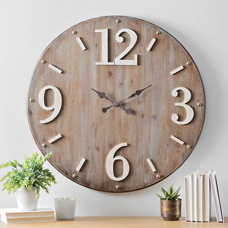 Hadden Wood With White Accents Wall Clock Kirklands Wall Decor Sale Affordable Wall Decor Green Wall Clocks
