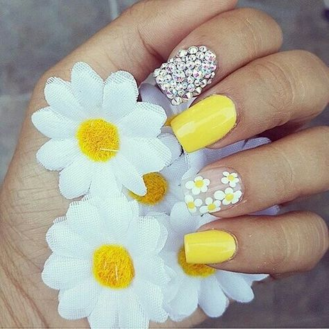 Flores Uñas Decoradas Amarillas Manicura De Uñas Y Uñas