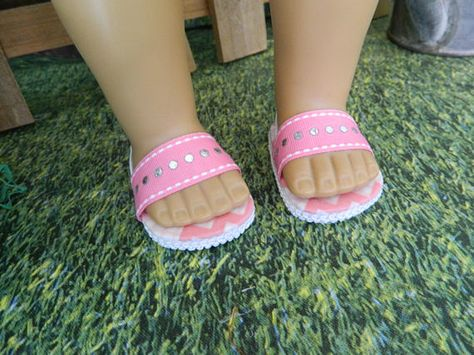 """White Sandal Shoes made for 18/"""" American Girl Doll Clothes"""