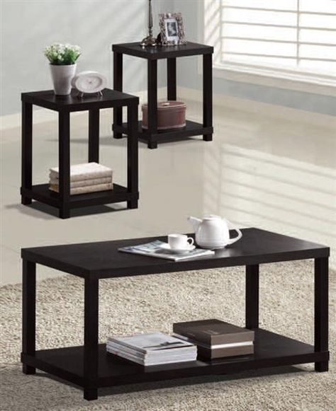 Wei Espresso Wood Shelves Coffee Table Set Coffee Table