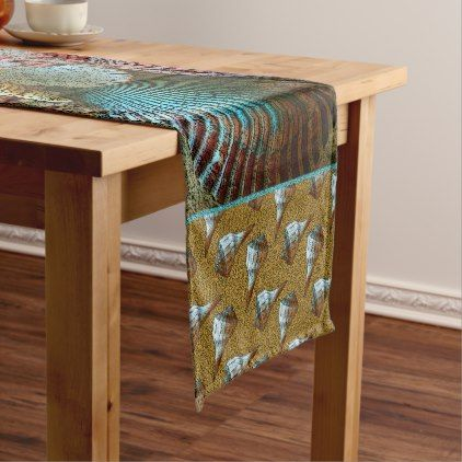 Colorful Abstract Seashells Pattern Short Table Runner Zazzle