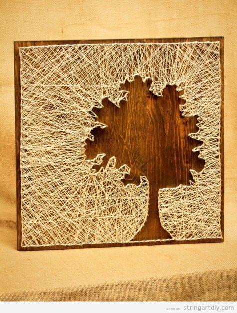 Tree silhouette String Art DIY