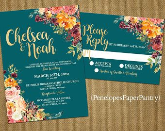 Teal And Orange Wedding Invitations