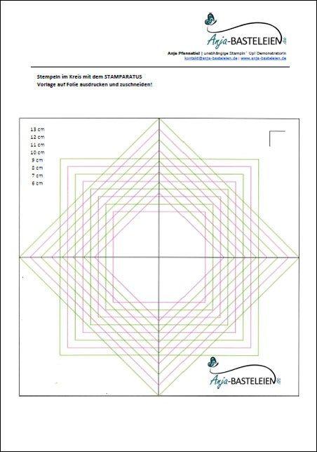 Stempeln Im Kreis Mit Dem Stamparatus Vorlage Stempeln Karten Basteln Technik Vorlagen