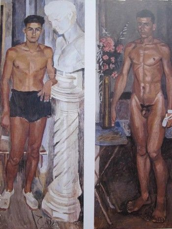 (right) Young athlete with black pants and a bust of Hermes, unfinished, 1940.  (left) Young naked with oleanders and a bandage in hand, unfinished, 1940. by Yannis Tsarouchis.