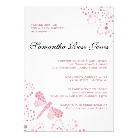 Pink white dragonfly elegant baby shower invitation pinterest pink white dragonfly elegant baby shower personalized invitation filmwisefo