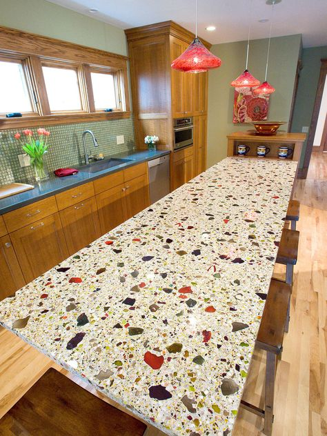Eco-Friendly choice for kitchen and bathroom (Recycled glass countertop ideas) unique surfaces handcrafted black, brown, green and blue countertops.