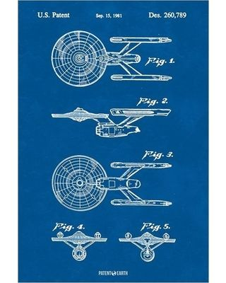 Star trek uss enterprise ship poster patent art print blueprint 24x36 malvernweather Choice Image