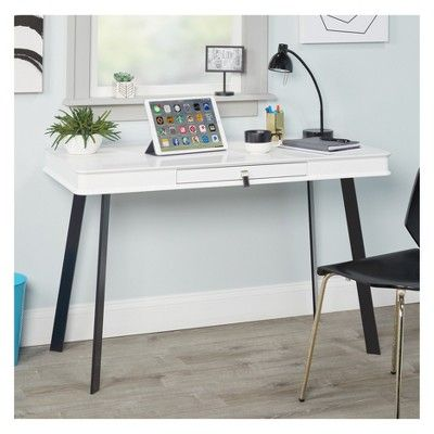Lara Desk Glossy White Black Leg Buylateral White Writing Desk Modern Home Office Furniture Furniture
