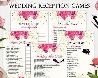 5 Wedding Reception Games Printable Wedding Reception Game Etsy In 2020 Wedding Reception Games Wedding Games Fun Wedding Games