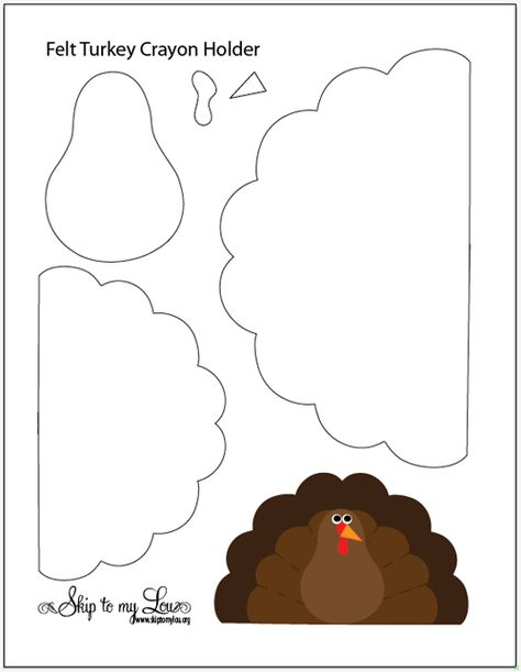 Pavo de fieltro - Felt Turkey Crayon Holder