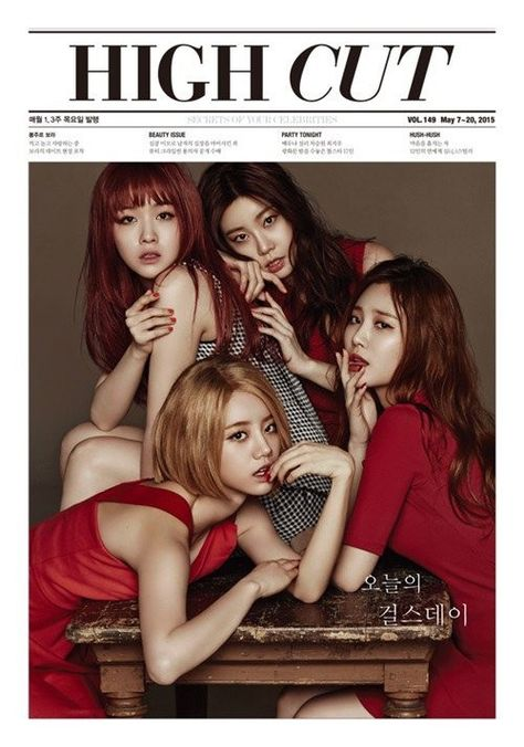 """In a new pictorial for High Cut magazine, the ladies of Girl's Day undergo a hair color color makeover. Under the concept of """"Girl's Color,"""" the members sp"""