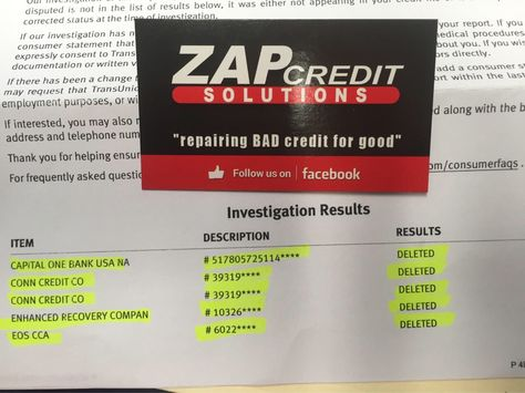 Zap Credit Solutions deleted more negated accounts in less than 30