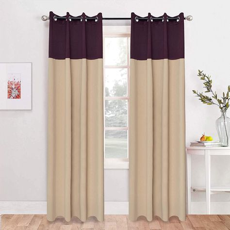 Buy American Elm 2 Panel Lightbeige And Jetblack Imported Premium Two Colour Room Darkening Blackout Curtains For Door 4 5 X Home Decor Door Curtains Paneling