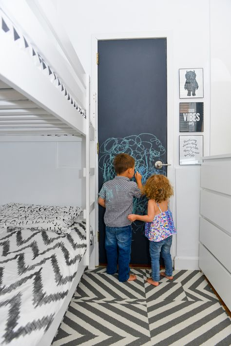 Fun for a small space - a chalkboard closet door for playing!! #kidsroom