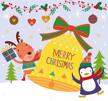 일러스트 크리스마스 겨울 플랫디자인 펭귄 나무 눈 날씨 눈결정 의인화 귀여움 전신 사람없음 미소 동물 사슴 선물 선물상자 종 크리스마스장식 오너먼트 열매 호랑가시나무 리본 팬시 카드 우편 크리스마스 카드 메리 크리스마스 크리스마스