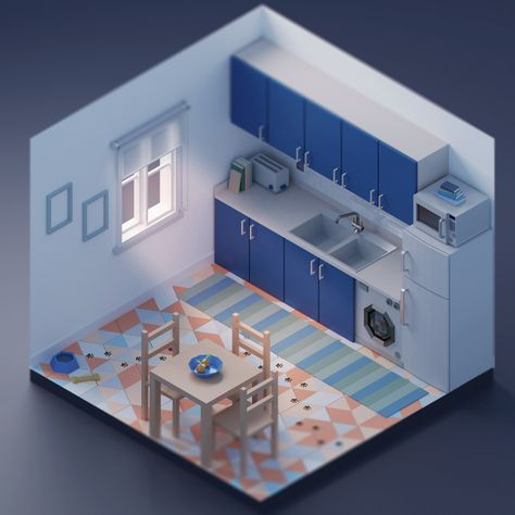 Low Poly Kitchen (low poly 3d), Ângelo Fernandes