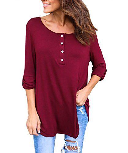 Only Damen T-Shirt mit V-Ausschnitt und Knopfleiste Stretch Unifarben Shirt Top