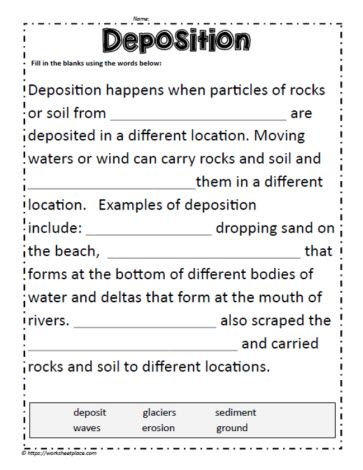 Cloze Activity For Deposition Cloze Activity Weathering And Erosion Word Problem Worksheets