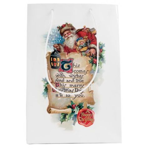 Festive Santa w/Lantern and Scroll and Greetings Medium Gift Bag christmas gifts dyi, baked christmas gifts, paper christmas gifts #christmasgiftsets #christmasgiftswehad #christmasgiftsforcoffeelovers, back to school, aesthetic wallpaper, y2k fashion