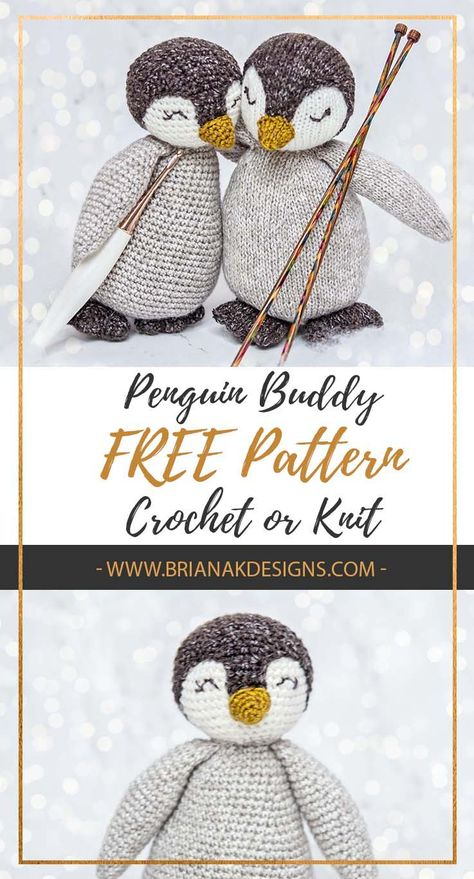Free Crochet or Knit Penguin Buddy Pattern by Briana K Designs. You don't have to be little to enjoy this penguin stuffy! He is cute for holiday decor or to just have around. And of course I think he makes a great gift for all ages.