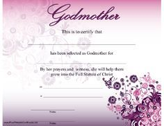 Free printable godparent certificates printable godmother a godmother certificate with a beautiful modern purple flower and butterfly design certifies selection printable certificatescertificate yadclub Images