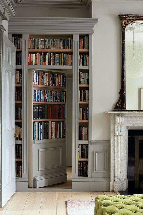 Home Staging, Garderobe Design, Victorian Terrace House, Victorian Door, Edwardian House, Bookcase Door, Bookshelves, Secret Rooms, Secret Room Doors